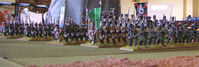 Prussian columns advance screened by skirmishers